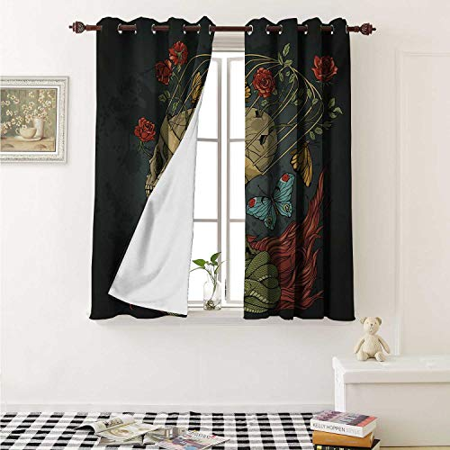 Flyerer Skull Thermal Insulating Blackout Curtain Evil Mexican Sugar Skeleton with Kitsch Bush of Roses Snake and Butterfly Artwork Curtains Girls Room W55 x L39 Inch Ruby Dark Grey