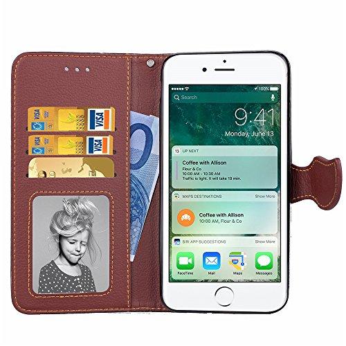 Phone Wallet Case para iPhone 7 Plus / 8 Plus, Vandot Desmontable Magnético Flip Folio Funda, 2-en-1 Cartera Carcasa Piel PU Cuero Funda Case Cover con 9 Ranuras para Tarjetas y Función de Soporte par Leaf 3