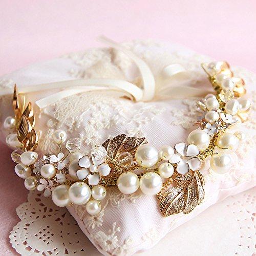Bridal wedding accessories amazon lsinyan gold handmade luxury retro pearl bride bridal wedding accessory hair head band wear rhinestone jewelry headdress headband tiara crown junglespirit Choice Image