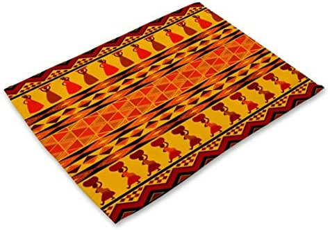 DEBRICKS Set of 2/4/6 Placemats, Bohemian Style Dining Table Mats,Heat-Resistant Placemats, Stain Resistant Washable PVC Dish Pads Coasters