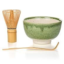 Matcha - Start Up Kit - 3 items - Matcha Green Tea Set - Japanese Made Green Bowl - Bamboo Whisk and Scoop - Gift-Box