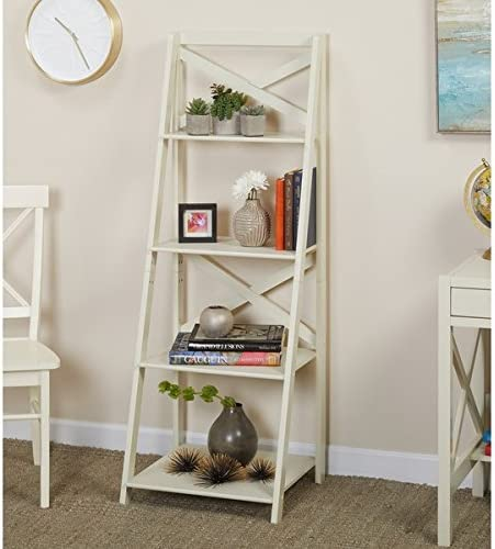 Simple Living Products Mid Century Modern Home Office 4-Tier Ladder Shelf