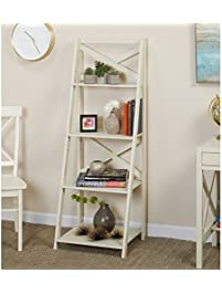 Simple Living Antique White 4-tiered X-Shelf Ladder Case