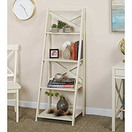 Simple Living Antique White 4 Tiered X Shelf Ladder Case
