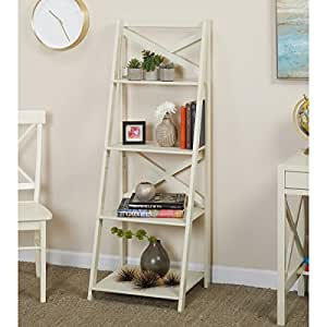Simple living antique white 4 tiered x shelf for Minimalist living amazon