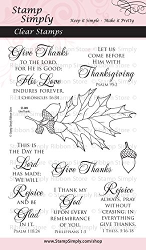 Stamp Simply Clear Stamps 1-Pack Thanksgiving Give Thanks Religious 8 Pieces by Stamp Simply Clear Stamps