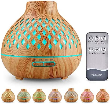 UBEGOOD Diffuseur d'Huiles Essentielles, 400ml Humidificateur Ultrasonique Diffuseur Aromathérapie avec 7 Couleurs Lumières LED d'aromathérapie Electrique pour la Maison, Yoga, Bureau, SPA, Chambre