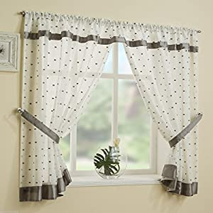 Grey Silver Square Pattern Kitchen Bathroom Window Curtain ...