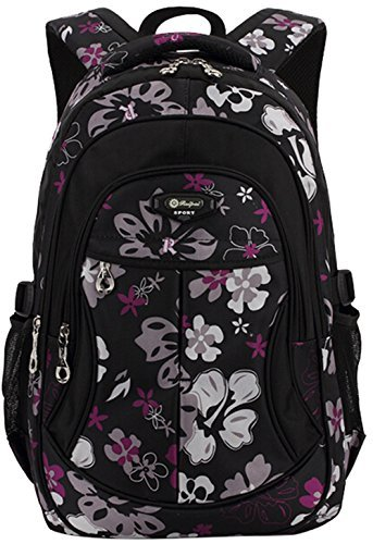 RUIPAI® Classic Floral New Semester Lovely School Bag Backpack For Girls Black 30*20*47cm