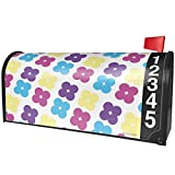 NEONBLOND Pattern Flower Power Purple Large Magnetic Mailbox Cover Custom Numbers