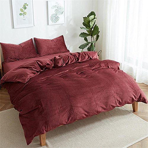Luxury Solid Color Velvet Bedding Duvet Cover Sets King Size, Queen Size, Winter Design 3 Pieces Bed Sets Included Comforter Cover+2 Pillow Shams (King, Burgundy)