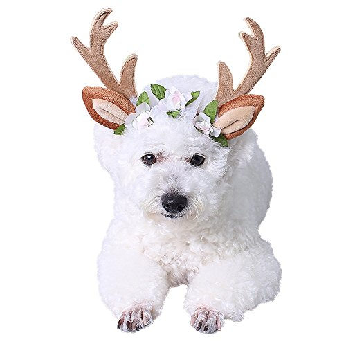 Antler Headband for Dogs Cats - Reindeer Antlers Halloween Pet Costume, Adjustable Pet Hair Band Elk Deer Shape Cosplay -