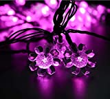Rextin 20ft 30 LED Sunflower Solar String Lights Pink Waterproof Outdoor for Garden Patio Fence Path Landscape Wedding Party Christmas Decoration (Pink)