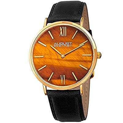 August Steiner Men's AS8211YGYL Yellow Gold Quartz Watch with Tiger Eye Stone Dial and Black Leather Strap