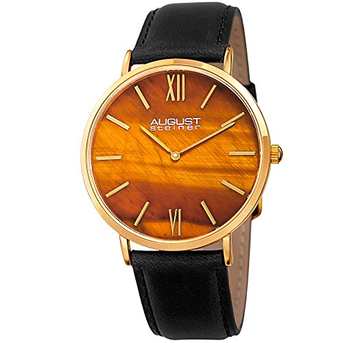 August Steiner Men's AS8211YGYL Yellow Gold Quartz Watch with Tiger Eye Stone Dial and Black Leather - Eye Watch Quartz