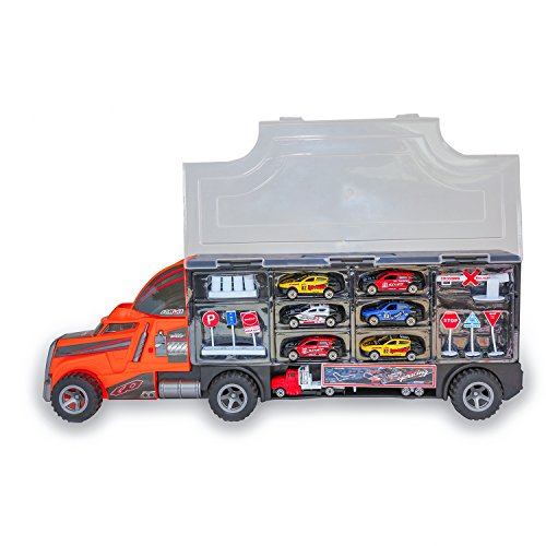 (Transport Car Carrier Truck,24 Inch in Length Truck Toy,Diecast Car Toy for Kids,Including 6pc Micro Size Metal Diecast,1pc Micro Size Metal Container Trailer,Road Sign,Oil Drum,Train gate.)