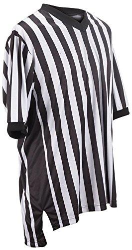 Adams USA Smitty Performance Interlocking Elite Side Panel V-Neck Referee Shirt (Black/White, (Basketball Referee Gear)