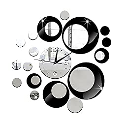 Happy Hours - Creative Wall Clocks / Home DIY Decoration Watch / Living Room Mirror Ball 3D Wall Design(Black)