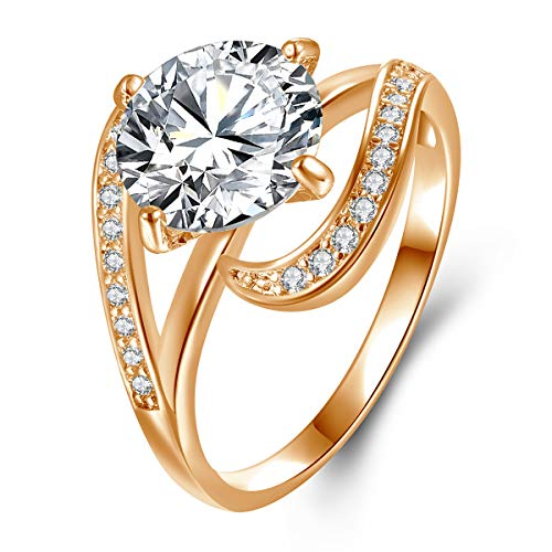 Champagne Gold Plated 2.7ct Round Cubic Zirconia Diamond Solitaire Promise Wedding Engagement Women Rings Size 8