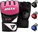 RDX MMA Gloves Grappling Martial Arts Sparring Punching Bag Cage Fighting Maya Hide Leather Mitts Combat Training.