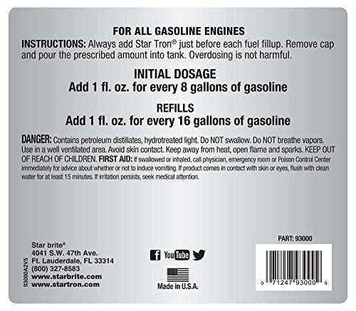 Star Tron Enzyme Fuel Treatment Concentrate – Rejuvenate & Stabilize Old Gasoline, Cure Ethanol Problems, Improve MPG, Reduce Emissions, Increase Horsepower