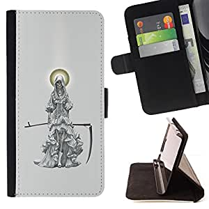 BullDog Case - FOR/Apple Iphone 6 PLUS 5.5 / - / GRIM REAPER MOON SCYTHE GREY /- Monedero de cuero de la PU Llevar cubierta de la caja con el ID Credit Card Slots Flip funda de cuer