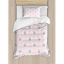 Shabby Chic Decor Twin Size Duvet Cover Set by Ambesonne, Retro Polka Dotted Backdrop and Floral Motifs Roses Cottage, Decorative 2 Piece Bedding Set with 1 Pillow Sham, Baby Pink White Seafoam