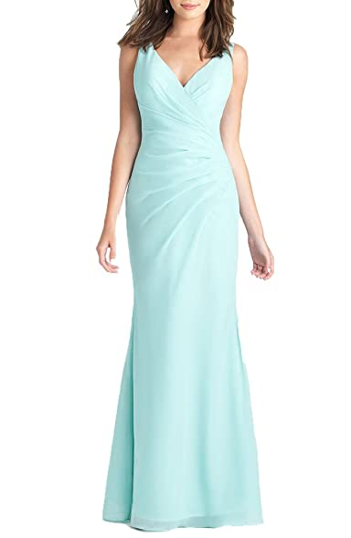 Kevins Bridal Chiffon Mermaid Prom Dresses V-Neck Pleated Lace Evening Dresses Aqua Size 2