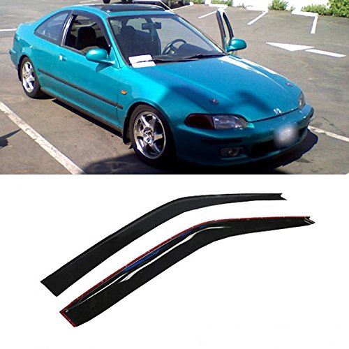 VioGi 2pcs Front Door Dark Smoke Outside Mount Style Sun Rain Guard Vent Shade Window Visors Fit 92-95 Honda Civic 2-Door Coupe / 3-Door Hatchback Only
