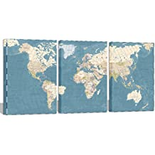 "Visual Art Decor Xlarge Blue Retro World Map Canvas Prints Atlas Framed and Stretched Map Wall Art Decor for Travel Pin Marks Map Pictures Office Living Room Decoration (32""x60"")"