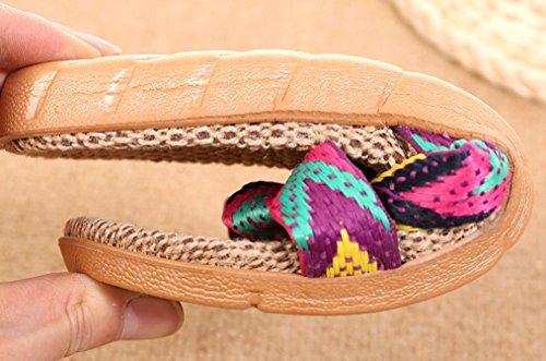Blubi Womens Jacquard Open Toe Cozy Lino Casa Estiva Pantofole Pantofole Da Camera Rosso