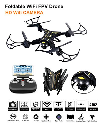 Crazepony Foldable WiFi FPV Drone RC Helicopter with 720P Foldable Drone Wide-Angle HD Camera Live Video RC Quadcopter with 360-Degree Rotations,Headless Mode One Key Return