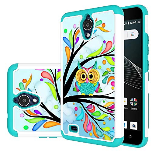 AT&T AXIA Case, ATT QS5509A case, MAIKEZI Hybrid Dual Layer TPU Plastic Armor Defender Phone Case Cover for AT&T AXIA (Cricket Vision) (Armor Green Owl)