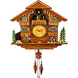 Kintrot Black Forest Cuckoo Clock Handcrafted Wooden Chalet Wall Clock Movable Bird, Dancers, Watermill, Wood Chopper