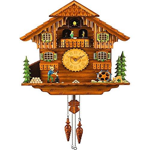 Chalet Cuckoo Clocks - Kintrot Black Forest Cuckoo Clock Handcrafted Wooden Chalet Wall Clock Movable Bird, Dancers, Watermill, Wood Chopper