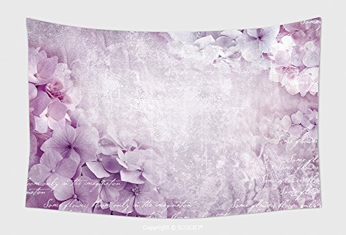 (Home Decor Tapestry Wall Hanging Floral Postcard. Can Be Used As Greeting Card, Invitation For Wedding, Birthday And Other Holiday Happening. Hydrangea Flowers. Art Floral Grunge Background.)