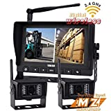 """Wireless Rear View Backup Camera System, 7"""" Digital Wireless Split LCD Monitor with Two Wireless Waterproof Ir Color Cameras for Excavator, Cement Truck, Farm Tractor, Trailer, 5th Wheel, Rv Camper, Heavy Truck"""