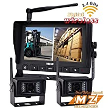 "Wireless Rear View Backup Camera System, 7"" Digital Wireless Split LCD Monitor with Two Wireless Waterproof Ir Color Cameras for Excavator, Cement Truck, Farm Tractor, Trailer, 5th Wheel, Rv Camper, Heavy Truck"