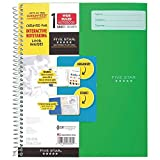 Five Star Spiral Notebook, INTERACTIVE NOTETAKING, 1 Subject, Wide Ruled Paper, 100 Sheets, 11' x 9-1/2' (Green Interactive W)