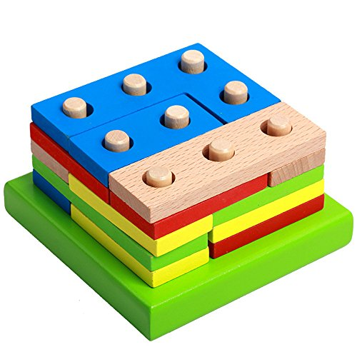 Newdiva Wooden Puzzle Kids Toy for Kids Over 3 Years Old - Non-Toxic Geometric Sorting Board Educational Toy Shape of Columns Blocks Stack Puzzle Girls Boys Baby Children Christmas Birthday Gift