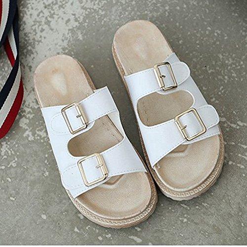 de Chaussure Mode Femmes Sandales Plate Glisse sur à Confort la Occasionnels Bas de Sandales Plat Toe Forme Blanc Ouvert Slip xZYqawZf