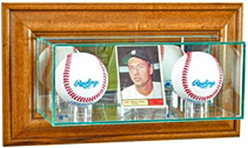 (Perfect Cases MLB Wall Mounted Card and Double Baseball Glass Display Case, Walnut)