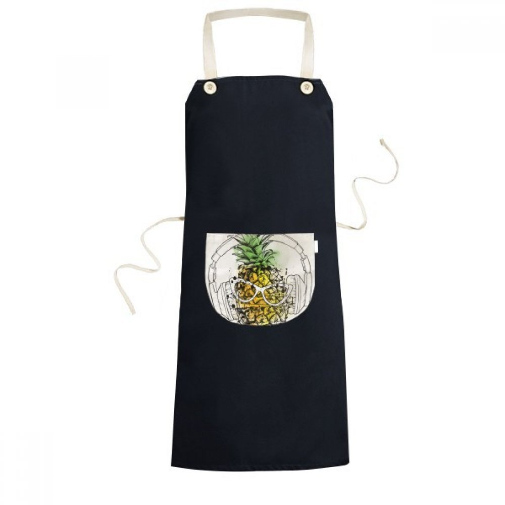 DIYthinker Headset Pineapple Sunglasses Fruit Cooking Kitchen Black Bib Aprons With Pocket for Women Men Chef Gifts