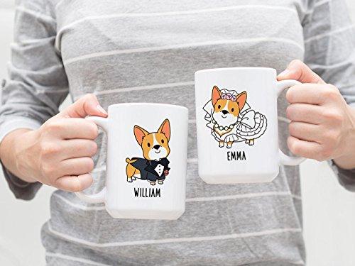Personalized Bride and Groom Corgi Mugs, Custom Name Coffee Mug, Dog Couple Mug, Wedding Mug, Engagement Gift Wedding Gift, Anniversary Days Gifts, Christmas Gifts, 11oz -