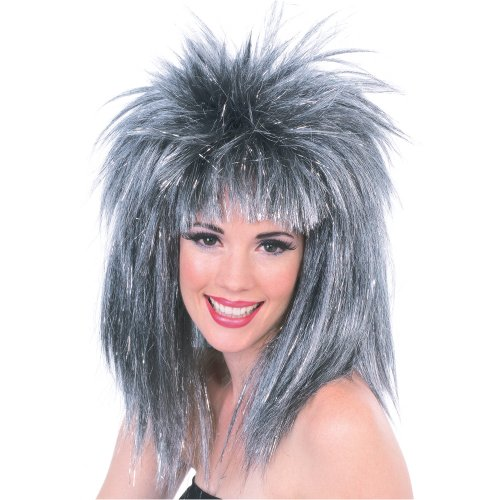 Rubie's Silver Glitter Diva Wig with Tinsel, Silver/Black, One Size