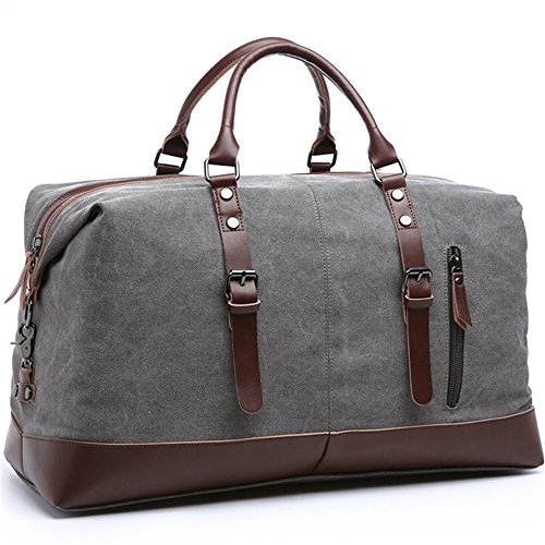 Travel Duffel Bag Canvas Overnight Tote PU Leather Weekend Bag Duffle Shoulder Handbag Bag for Men and Women Unisex (Gray)
