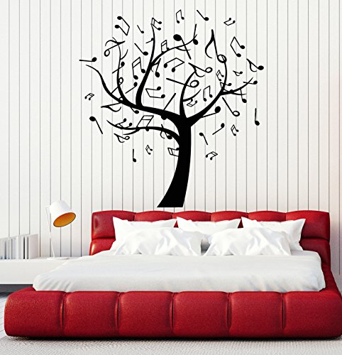 (Vinyl Wall Decal Music Tree Notes Musical Art Interior Ideas Stickers Large Decor (ig4775) Silver Metallic)