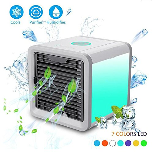 TY&WJ Air conditioner fan Mini portable Water cooler For office Dorm Nightstand Desktop air conditioning fan-White 17x17x17cm(7x7x7) by TY&WJ