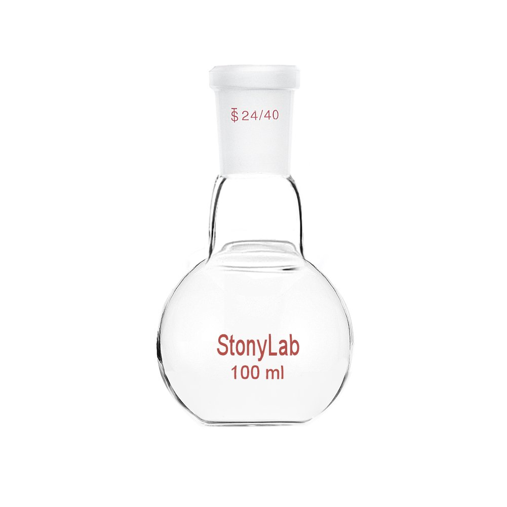 StonyLab Glass 100mL Heavy Wall Single Neck Flat Bottom Boiling Flask, with 24/40 Standard Taper Outer Joint - 100mL