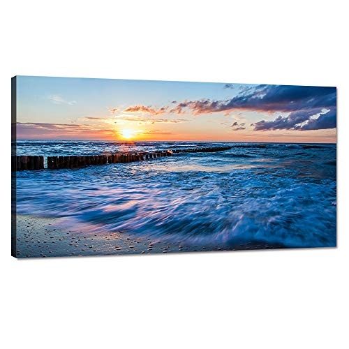 Modern Stretched and Framed Ocean Artwork Bule Waves Crashing on Beach at Sunset Painting Prints on Canvas Giclee Artwork Stretched and Framed Ready to Hang for Home and Office Decor - 40